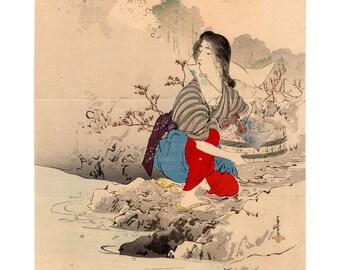 Spring water (Tsutsui Toshimine) N.1 kuchi-e woodblock print