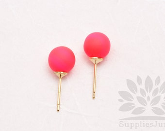 E300-01-NP// HIPS Neon Pink 8mm Round 925 Sterling Silver Earring Post, 4 pcs