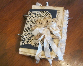 Vintage Looking Junk Journal w/Doily and Lace Flower Cover, Shabby Vintage Junk Journal with Haphazard-Sized Pages, Vintage Ephemera Copies