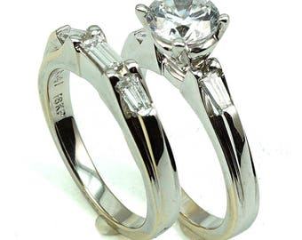 Engagement Anniversary Wedding Rings 18K WG CZ Center Stone with 5-Diam Side Stones  at 0.63 Cts