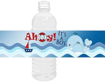 Nautical water bottle labels, Ahoy It's a Boy water bottle labels, Nautical Baby Shower Favors, Nautical whale shower favors