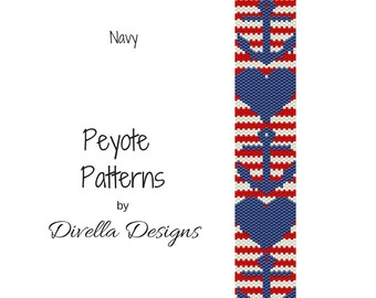 Peyote Pattern, Anchors and Hearts, Beading Pattern, Earring tutorial, Clasp Tutorial