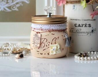 Pastel Peach Mason Jar, Shabby Chic Mason Jar, Trinket Mason Jar, Jewellery Holder, Potpourri Holder, Vanity Organizer, Bridesmaid Gift