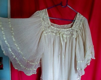Mexican peasant top, cotton smock top, cotton tunic, boho top, country chic top, gypsy blouse