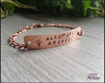 Stamped Copper Bracelet,Medical bracelet,