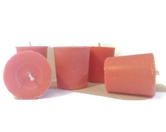 Pink rose scented votive candles, pink soy candles
