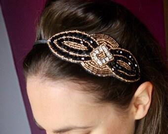 1920s Flapper Black and Gold Beaded Headband gatsby headband Art Deco