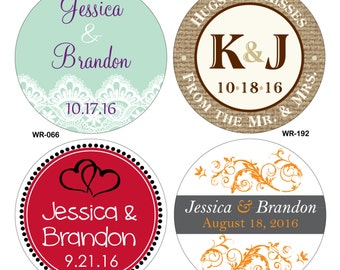 60 - 3.5 inch Custom Glossy Waterproof Wedding Stickers Label - hundreds of designs to choose from - change designs to any color or wording
