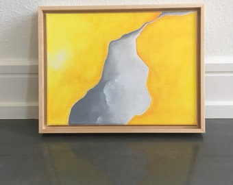 Original art - framed acrylic on canvas - abstract yellow and grey boulder painting