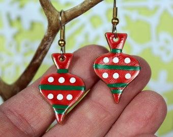 Red Ornament Christmas Dangle Earrings Handmade Porcelain Ceramic Jewelry By Linda Cain