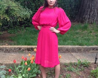 Vintage 80's Puffy Sleeve Knife Pleat Hot Pink Polyester Midi Dress Small Medium