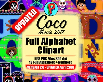 Coco Movie 2017 - Full Alphabet Clipart - 558 png files 300 dpi - 18 Full Alphabets - Instant Download