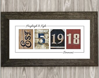 PERSONALIZED WEDDING GIFT for Couples, Anniversary Gift, Wedding Date Sign, Wedding Established Sign, Wedding Gifts for Parents, Wall Art