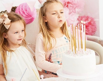 """Birthday Candles Gold Metallic and Pink 