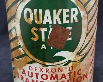 Vintage 1970s 1980s - Quaker State - 1 quart Automatic transmission fluid - Dexron II - Lubricant