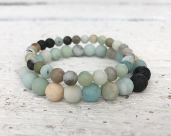 Amazonite Essential Oil Diffuser Bracelet for Women, Lava Rock Bead Bracelet, Natural Gemstone Yoga Stretch Bracelet Jewelry, Gift for her