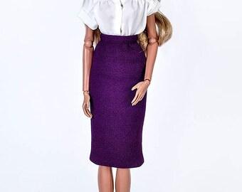 ELENPRIV crepe violet pencil skirt for Fashion royalty FR2 and similar body size dolls