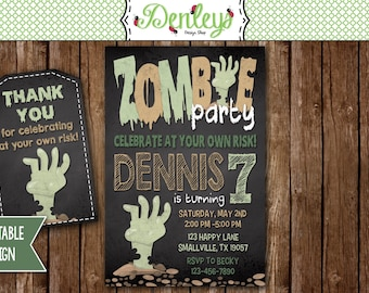 Zombie Invitation, Zombie Party, Zombies, Zombie Theme Party (ZO02)