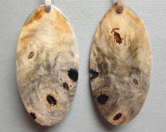 Gorgeous, Buckeye Burl long oval Exotic Wood Earrings, Handcrafted dangle lightweight