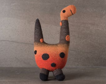 Bronson the Brontosaurus; amigurumi, crocheted, crocheted critter, baby, toy, softie, gift.