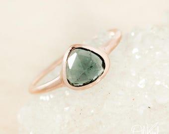 Rose Gold Blue Tourmaline Ring - Rose Cut Tourmaline - Triangular Tourmaline Ring