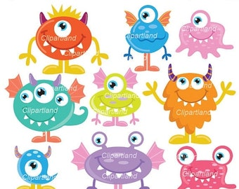 ON SALE INSTANT Download. Cm_22_monsters. Cute monsters clip art. Personal and commercial use.