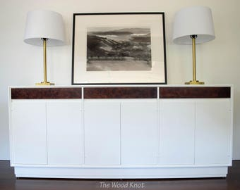 SOLD - Mid Century Modern White Sideboard with Burl Wood in Dark Stain.