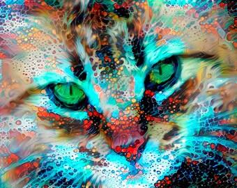 Cat Art Print, Cat Art Watercolor, Cat Artwork, Colorful Wall Art, Cat Gifts for Cat Lovers, Cat Painting