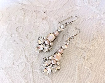 BLUSH pink earrings, blush bridal earrings, pink bridal jewelry creamrose ivory cream wedding earrings