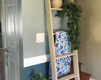 6ft Blanket Ladder, 6ft Beige Wood Ladder, Tall Wooden Ladder, Fixer Upper Style Ladder