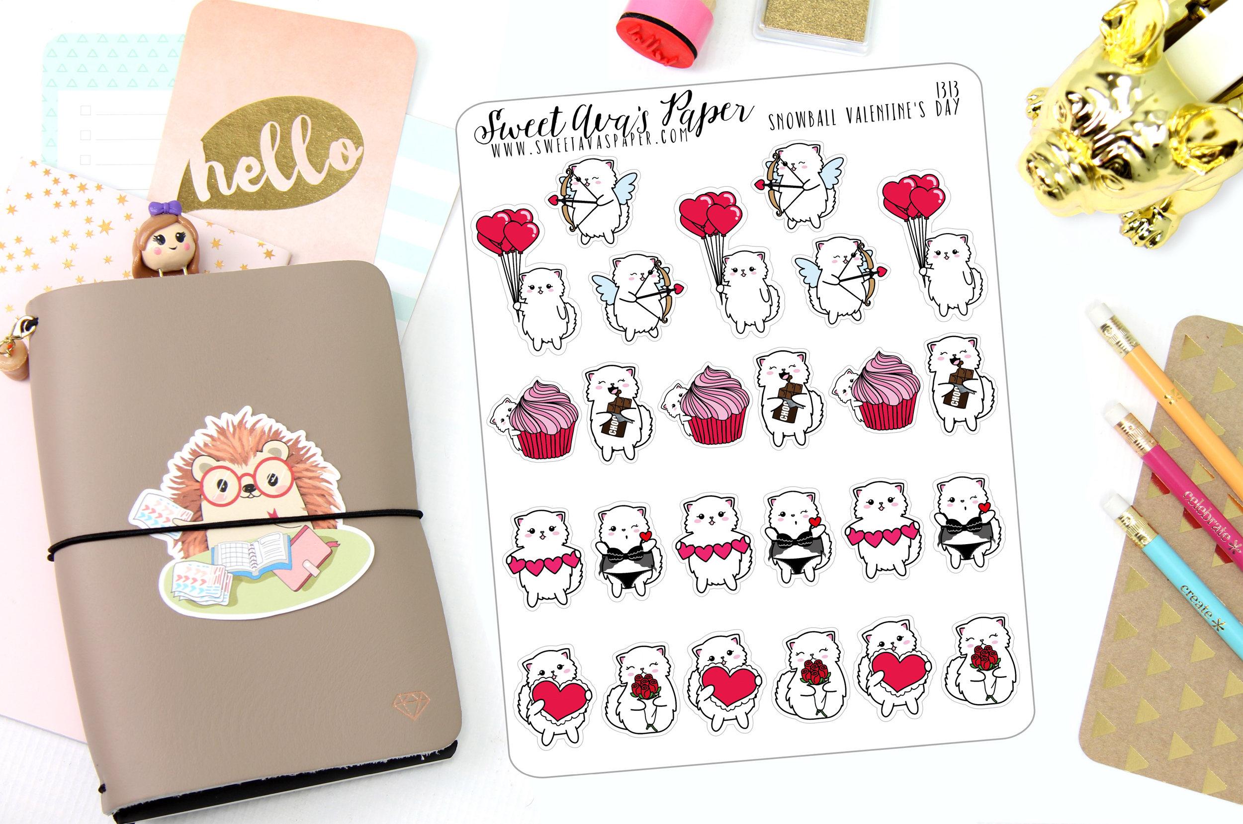 Valentinstag-Aufkleber Katzen-Sticker Teddy Bär Sticker