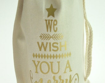 We Wish You A Merry Christmas Muslin Wine Bottle Bag with Drawstring - Choice of 24 Colors | Christmas Wine Gift Bag | Christmas Goodie Bag