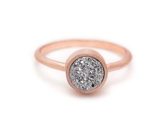 Silver Druzy Quartz in Rose Gold Ring - 18k Rose Gold Vermeil - Bezel Set - Sizes 4.5, 5, 5.5, 6, 6.5, 7, 7.5, 8, 8.5, 9, 9.5 and 10