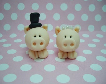 Polymer Clay Little Pig Wedding Cake Topper