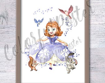 Sofia the First watercolor poster Disney princess Sofia wall decor Baby shower gift Nursery room decor Kids room wall art Baby girl V315