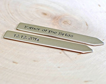 Sterling silver father of the bride collar stays for you to customize - Solid 925 Wedding Accessories CS006
