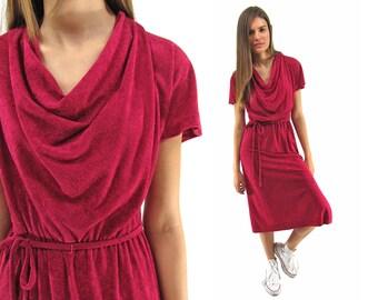 Vintage 70s Terry Cloth Dress, Cowl Neck, Burgundy Dress, Boho Dress, Bohemian Δ size: xs / sm