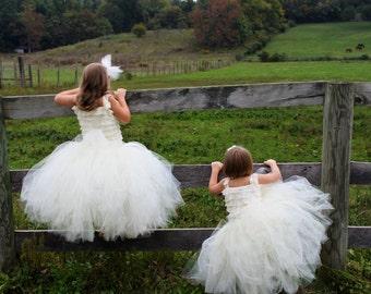ButterCream -  Flower Girl Tulle Skirt in Ivory -  Sewn long length tutu skirt - choose your size and length - for weddings, portraits