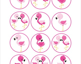 Edible Flamingo Cupcake Cookie Toppers