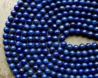 8mm A Grade Lapis Lazuli Semi-Precious Round Polished Beads, Full Strand (IND1C89)