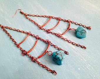 Long Turquoise Drop Ladder Chandelier Earrings ~ Boho/Gypsy/Hippy