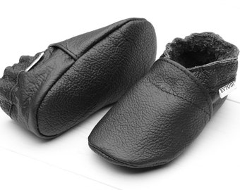 HOT SALE! Soft sole baby shoes Leather baby shoes, Black Newborn, Shoes boy, Crib shoes, Baby slippers, Shoes girl Gift Handmade Evtodi