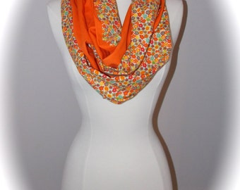 Double sided orange floral scarf