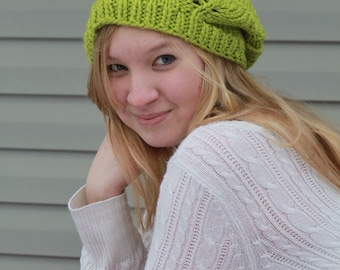 Slouchy Leaf Hat in New Green