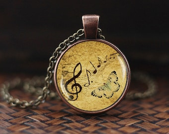 Sheet Music Necklace, Treble Clef Necklace, G-clef, Music Notes Necklace, Musical Jewelry, Gift for Music Lover Musician Piano Teacher