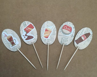 Coke Cupcake Toppers (set of 12)