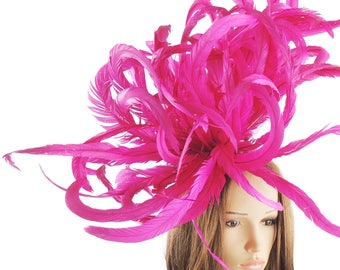 Cerise Magenta Feather Bomb Hat for Kentucky Derby, Weddings