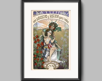 Justice and Liberty Art Nouveau inspired print