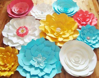 Set of 10 Large Paper Flowers - Paper Flowers | Paper Flower Backdrop | Flower Wall Art | Wedding Flowers | Home Decor | Baby Nursery Decor