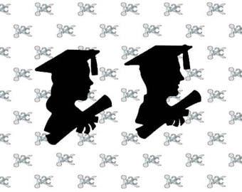 Graduation SVG Cap and Gown Boy Girl Silhouette Studio Design